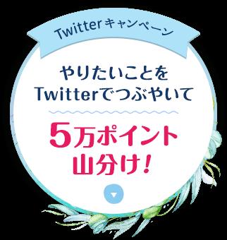 Twitterキャンペーン やりたいことをTwitterでつぶやいて5万ポイント山分け!