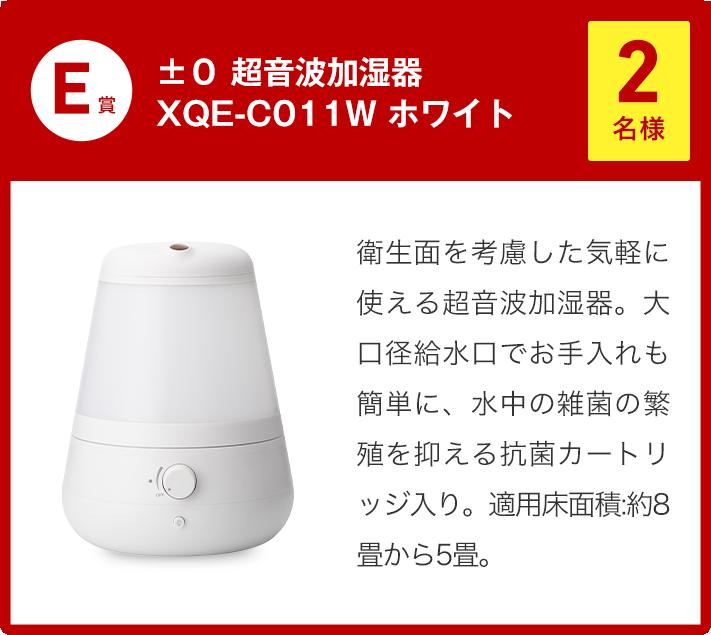 E賞 ±0 超音波加湿器 XQE-C011W ホワイト 2名様