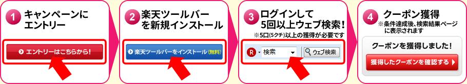 [1]キャンペーンにエントリー [2]楽天ツールバーを新規インストール [3]ログインして5回以上ウェブ検索!(※5口(5クチ)以上の獲得が必要です) [4]クーポン獲得(※条件達成後、検索結果ページに表示されます)