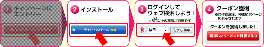 [1]キャンペーンにエントリー [2]インストール [3]ログインしてウェブ検索しよう!(※5口(5クチ)以上の獲得が必要です) [4]クーポン獲得(※条件達成後、検索結果ページに表示されます)