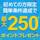初めての方へ限定簡単条件達成で最大250ポイントプレゼント