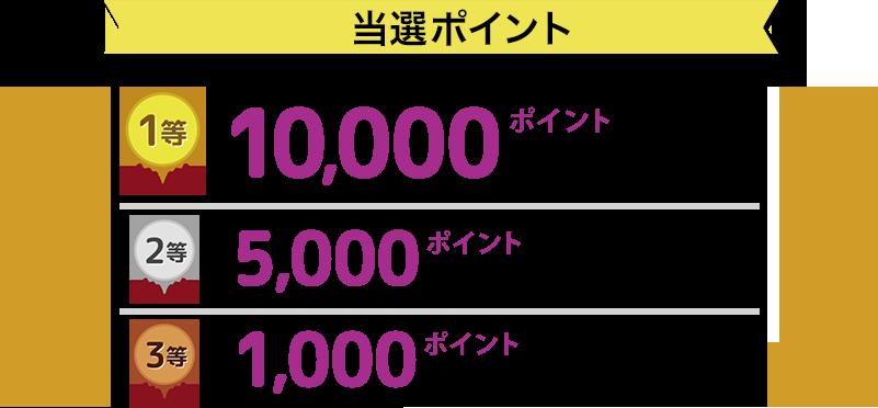 当選ポイント 1等 10,000ポイント×3名様 2等 5,000ポイント×6名様 3等 1,000ポイント×40名様